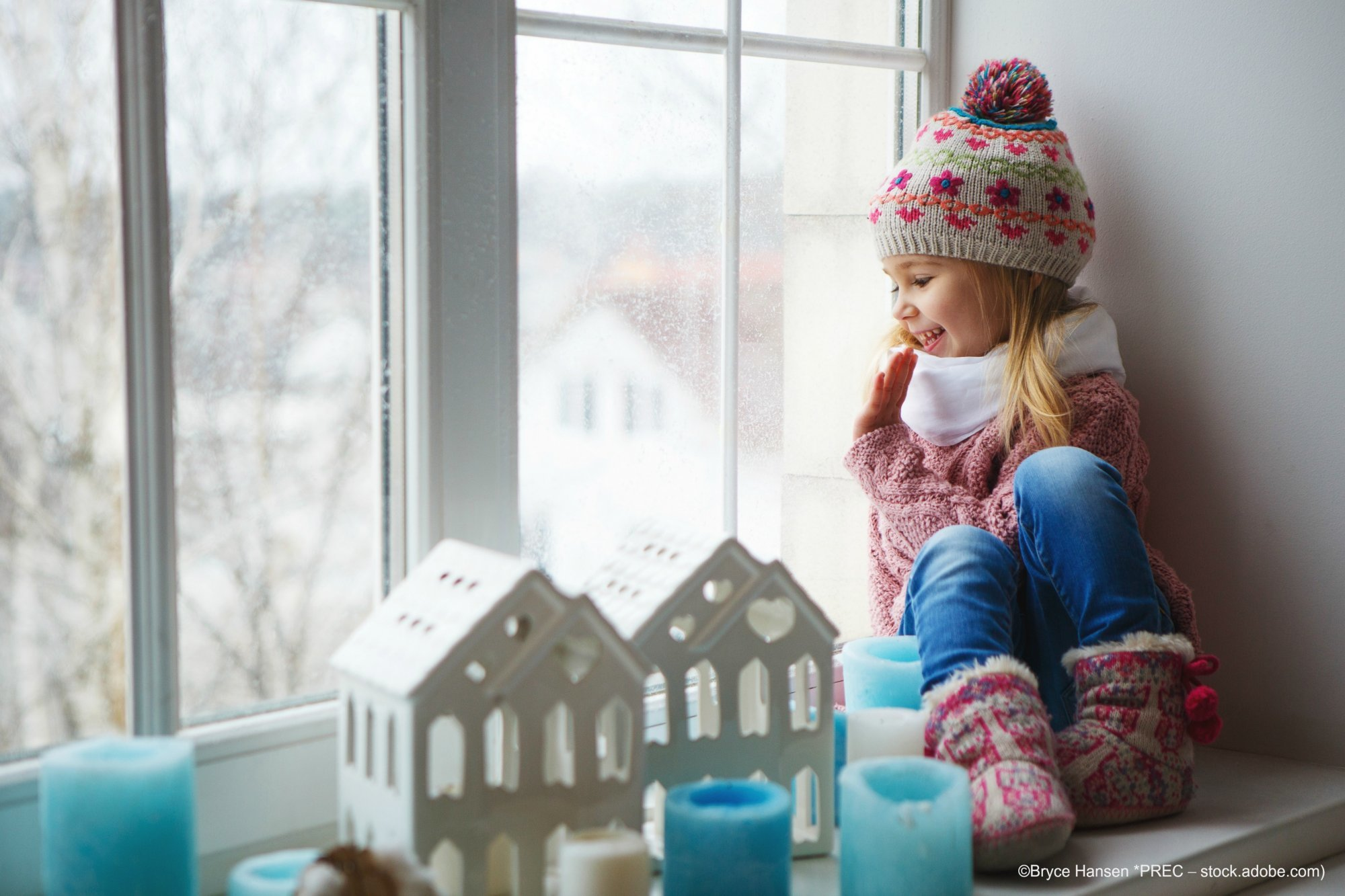 Winter Scene with Girl at Home