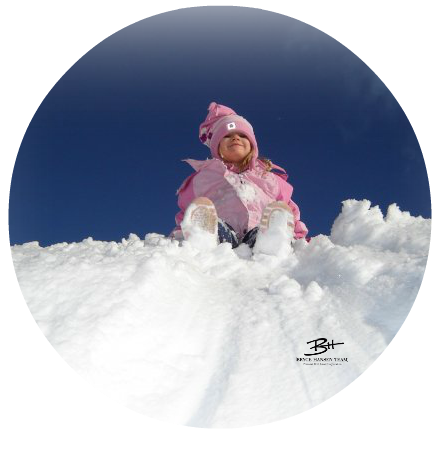 Young Girl Sledding at Mt Washington
